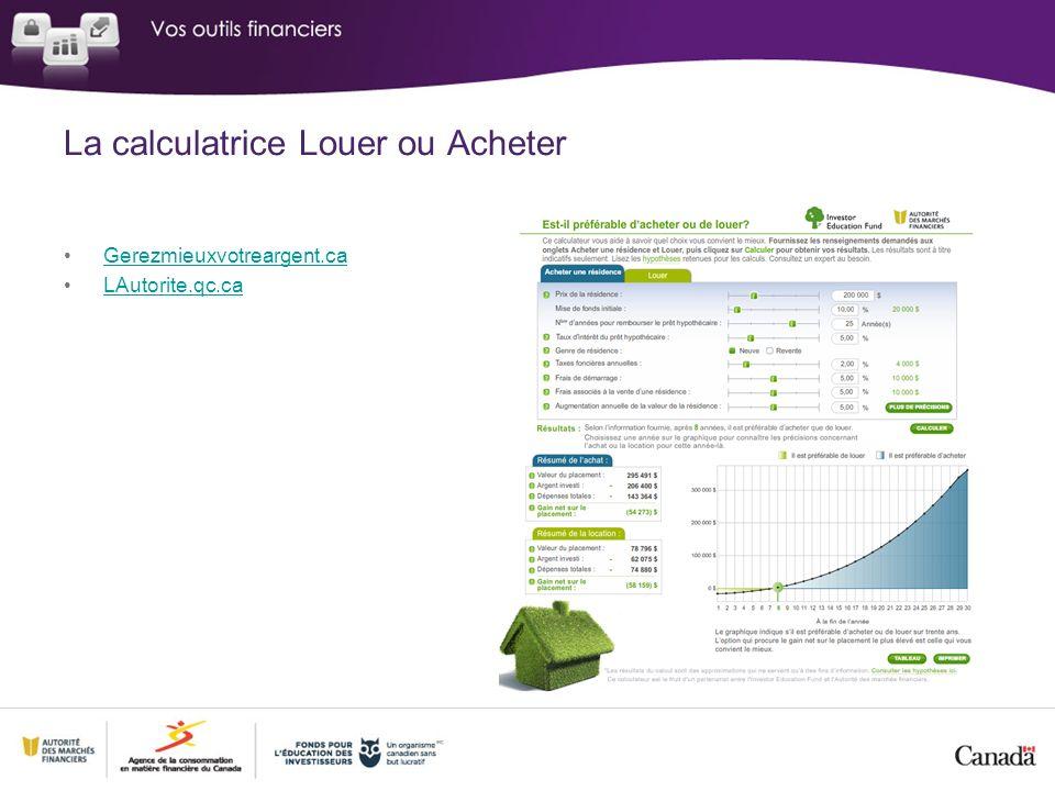 La calculatrice Louer ou Acheter Gerezmieuxvotreargent.ca LAutorite.qc.ca