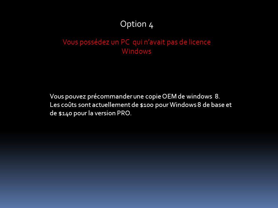 Option 4 Vous possédez un PC qui navait pas de licence Windows Vous pouvez précommander une copie OEM de windows 8.