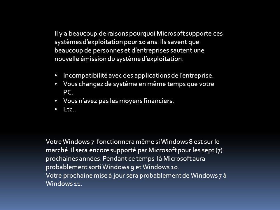 Il y a beaucoup de raisons pourquoi Microsoft supporte ces systèmes dexploitation pour 10 ans.