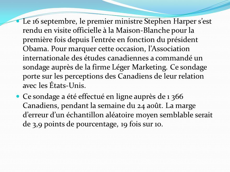Le 16 septembre, le premier ministre Stephen Harper sest rendu en visite officielle à la Maison-Blanche pour la première fois depuis lentrée en foncti
