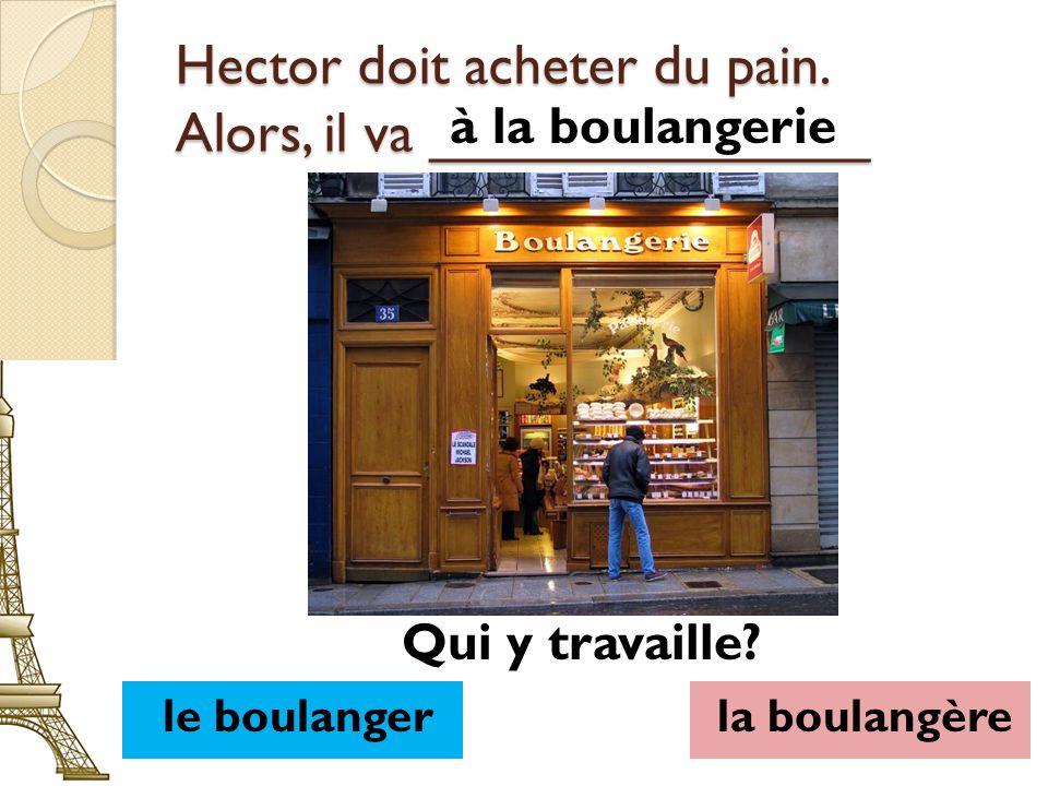 Hector doit acheter du pain. Alors, il va ______________ à la boulangerie le boulangerla boulangère Qui y travaille?