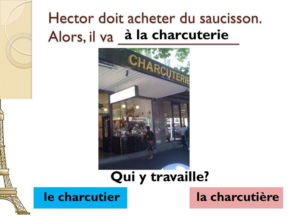 Hector doit acheter du saucisson. Alors, il va ______________ à la charcuterie le charcutierla charcutière Qui y travaille?