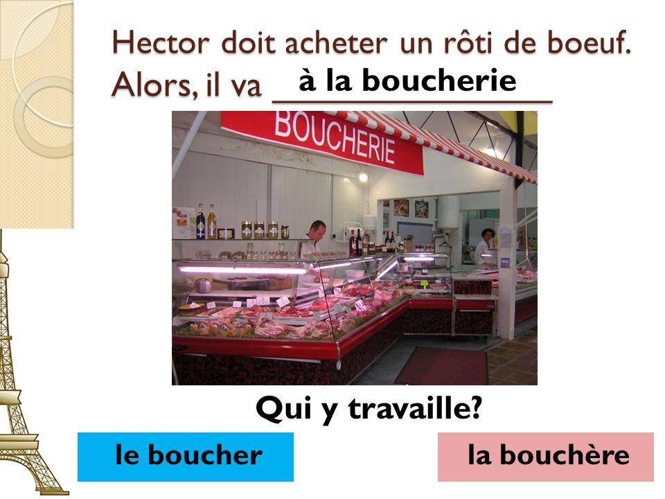 Hector doit acheter un rôti de boeuf. Alors, il va ______________ à la boucherie le boucherla bouchère Qui y travaille?