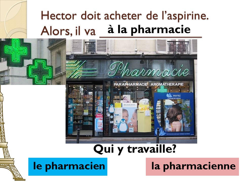 Hector doit acheter de laspirine. Alors, il va ______________ à la pharmacie le pharmacienla pharmacienne Qui y travaille?