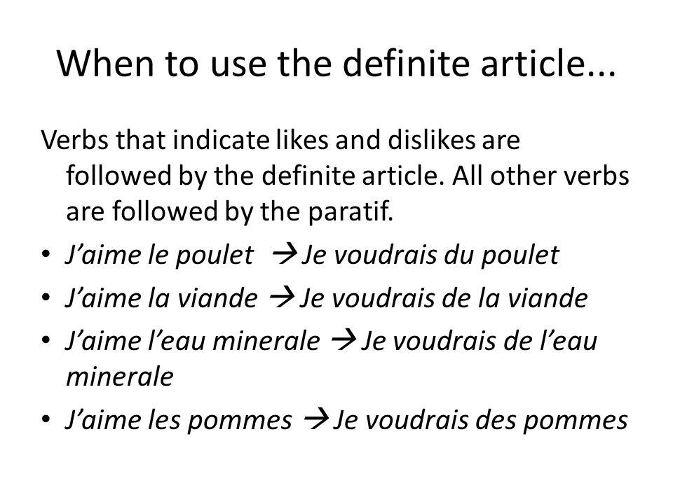 Le paratif au negatif All forms of the paratif du, de la, de l, des changes to de (d) after a negative.