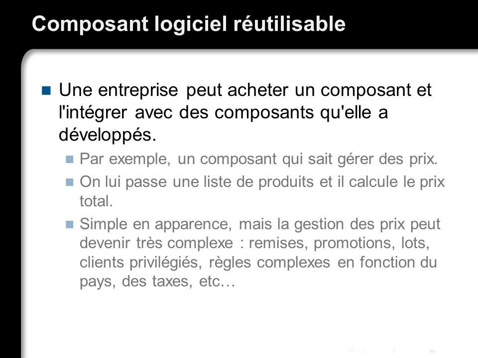 Composant logiciel réutilisable Une entreprise peut acheter un composant et l'intégrer avec des composants qu'elle a développés. Par exemple, un compo