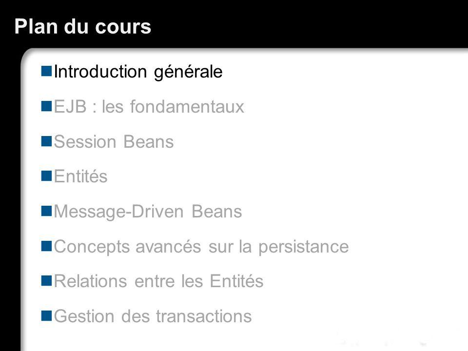 Plan du cours Introduction générale EJB : les fondamentaux Session Beans Entités Message-Driven Beans Concepts avancés sur la persistance Relations en
