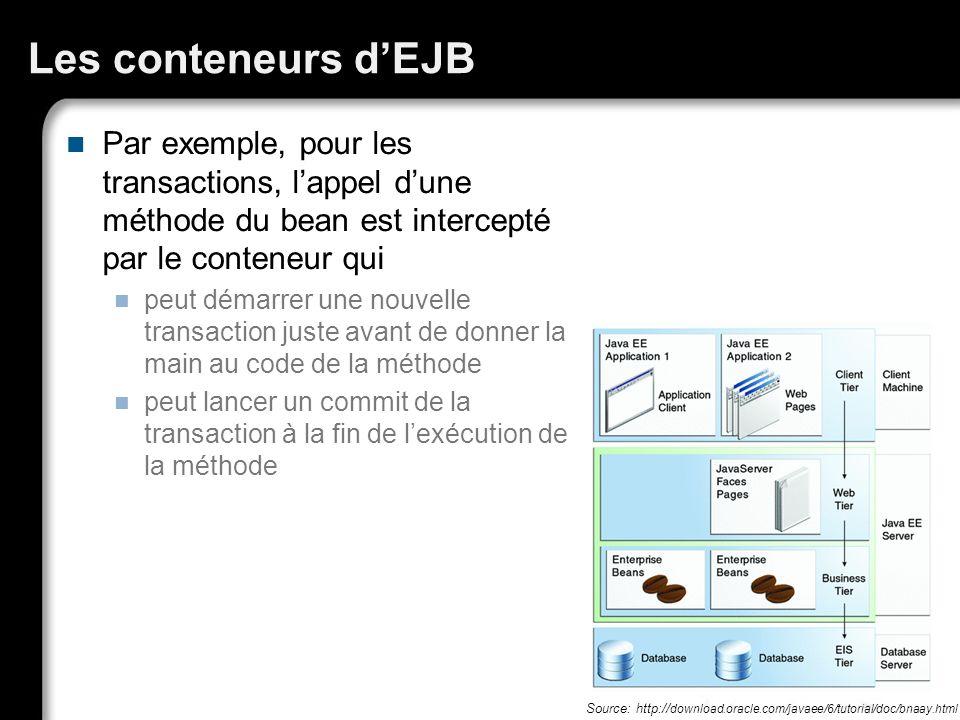 Les conteneurs dEJB Par exemple, pour les transactions, lappel dune méthode du bean est intercepté par le conteneur qui peut démarrer une nouvelle tra