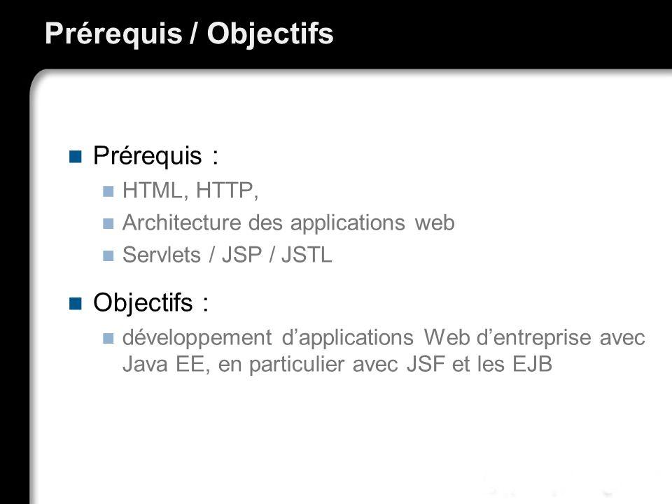 Prérequis / Objectifs Prérequis : HTML, HTTP, Architecture des applications web Servlets / JSP / JSTL Objectifs : développement dapplications Web dent