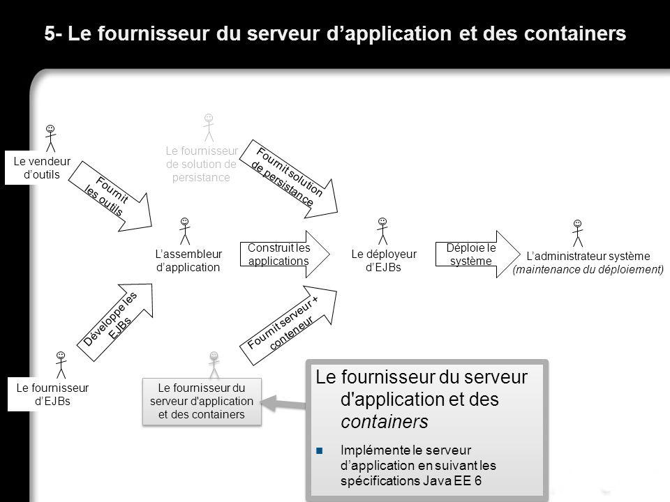 Ladministrateur système (maintenance du déploiement) 5- Le fournisseur du serveur dapplication et des containers 32 Le vendeur doutils Fournit les out