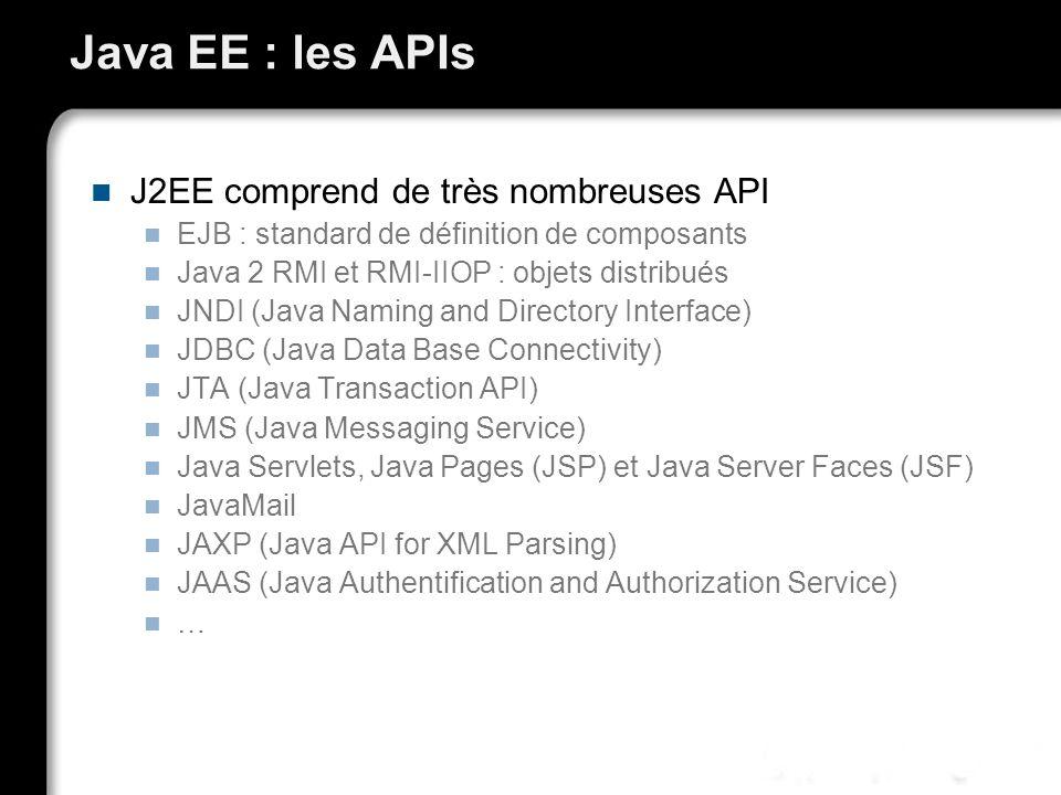 Java EE : les APIs J2EE comprend de très nombreuses API EJB : standard de définition de composants Java 2 RMI et RMI-IIOP : objets distribués JNDI (Ja
