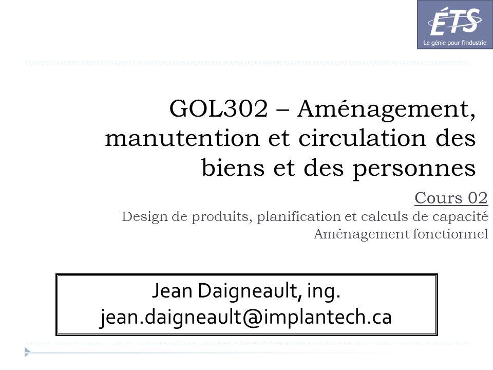 GOL302 – Aménagement, manutention et circulation des biens et des personnes Cours 02 Design de produits, planification et calculs de capacité Aménagem
