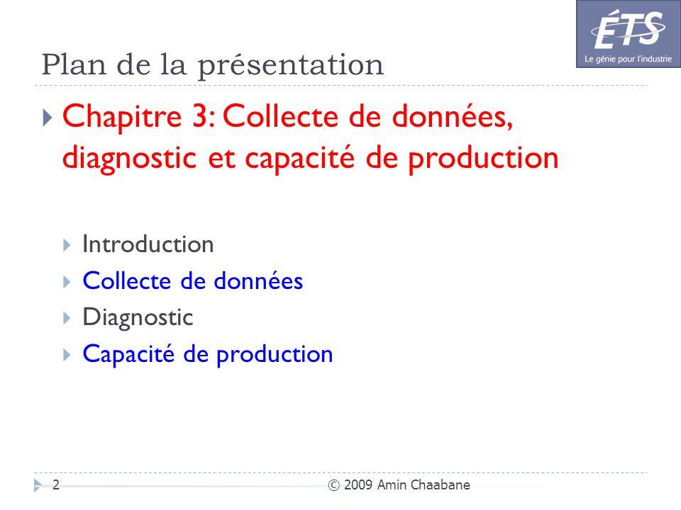 Plan de la présentation © 2009 Amin Chaabane2 Chapitre 3: Collecte de données, diagnostic et capacité de production Introduction Collecte de données D
