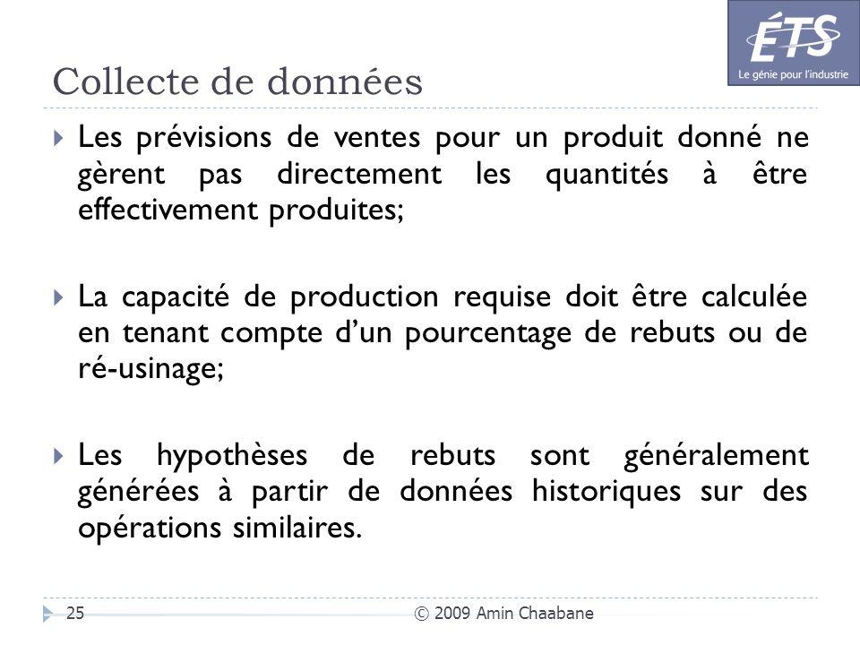 Collecte de données © 2009 Amin Chaabane25 Les prévisions de ventes pour un produit donné ne gèrent pas directement les quantités à être effectivement