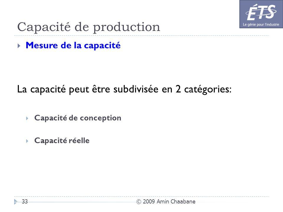 Capacité de production © 2009 Amin Chaabane33 Mesure de la capacité La capacité peut être subdivisée en 2 catégories: Capacité de conception Capacité
