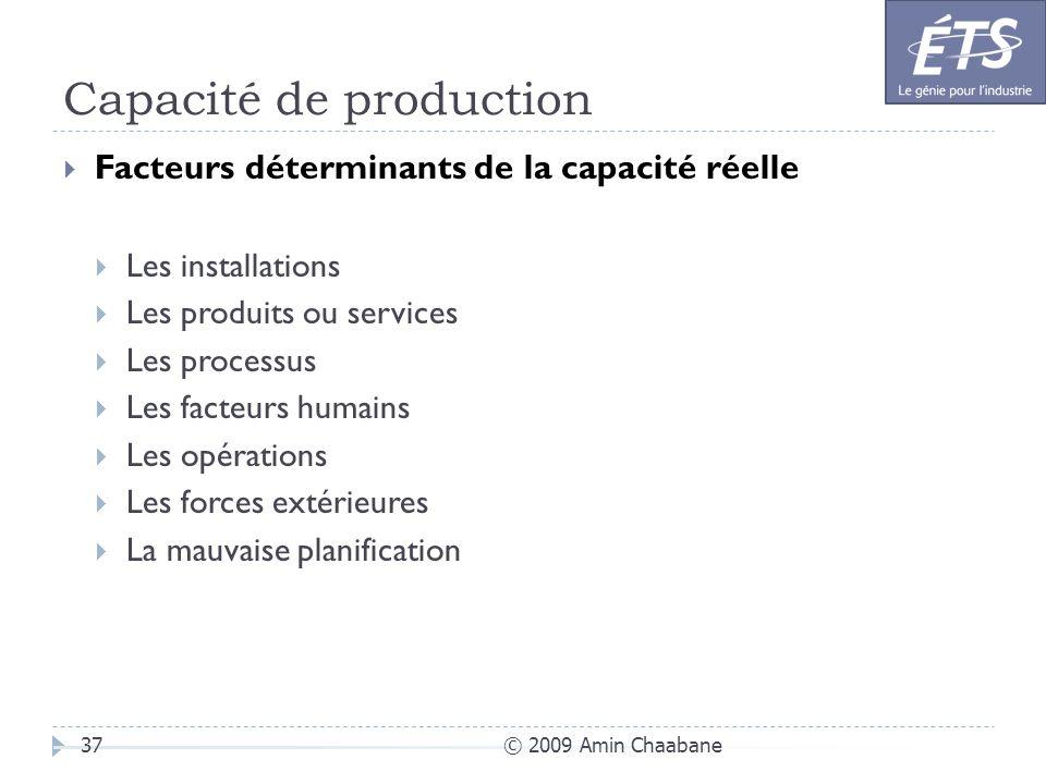 Capacité de production © 2009 Amin Chaabane37 Facteurs déterminants de la capacité réelle Les installations Les produits ou services Les processus Les