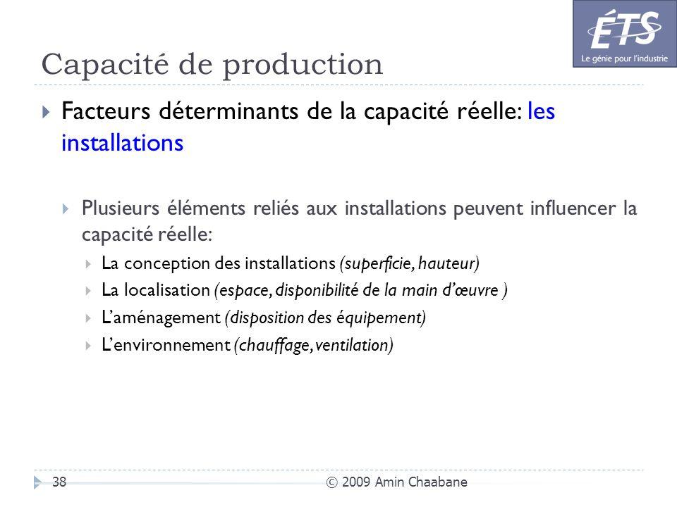 Capacité de production © 2009 Amin Chaabane38 Facteurs déterminants de la capacité réelle: les installations Plusieurs éléments reliés aux installatio