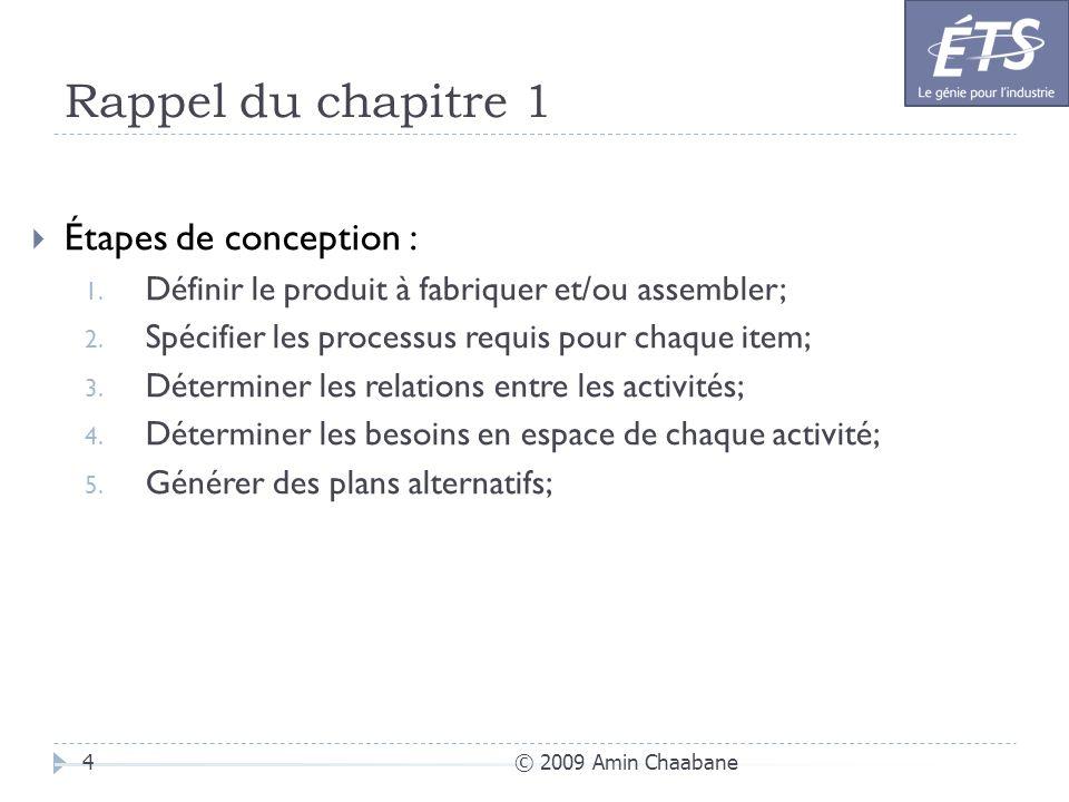 Rappel du chapitre 1 © 2009 Amin Chaabane4 Étapes de conception : 1. Définir le produit à fabriquer et/ou assembler; 2. Spécifier les processus requis