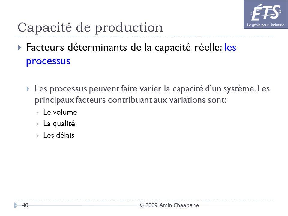 Capacité de production © 2009 Amin Chaabane40 Facteurs déterminants de la capacité réelle: les processus Les processus peuvent faire varier la capacit