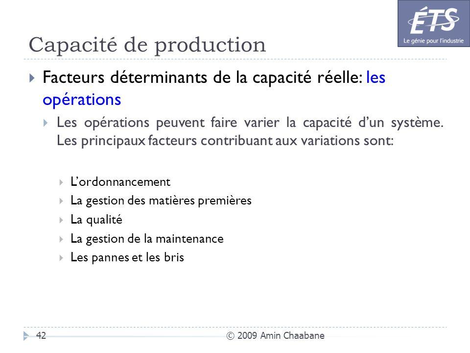 Capacité de production © 2009 Amin Chaabane42 Facteurs déterminants de la capacité réelle: les opérations Les opérations peuvent faire varier la capac