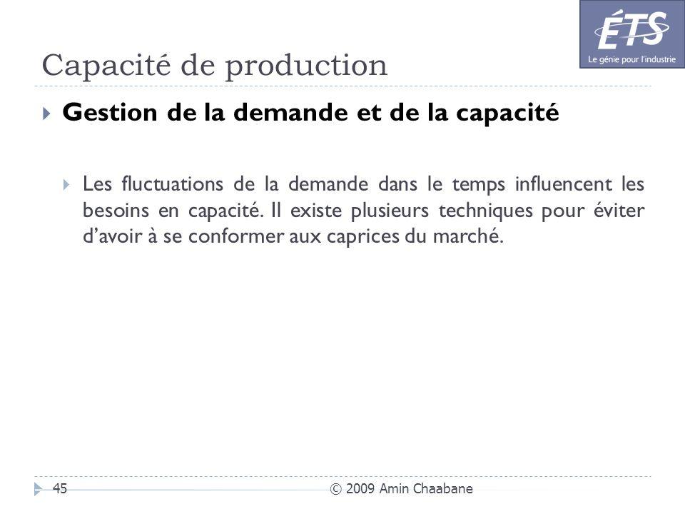 Capacité de production © 2009 Amin Chaabane45 Gestion de la demande et de la capacité Les fluctuations de la demande dans le temps influencent les bes
