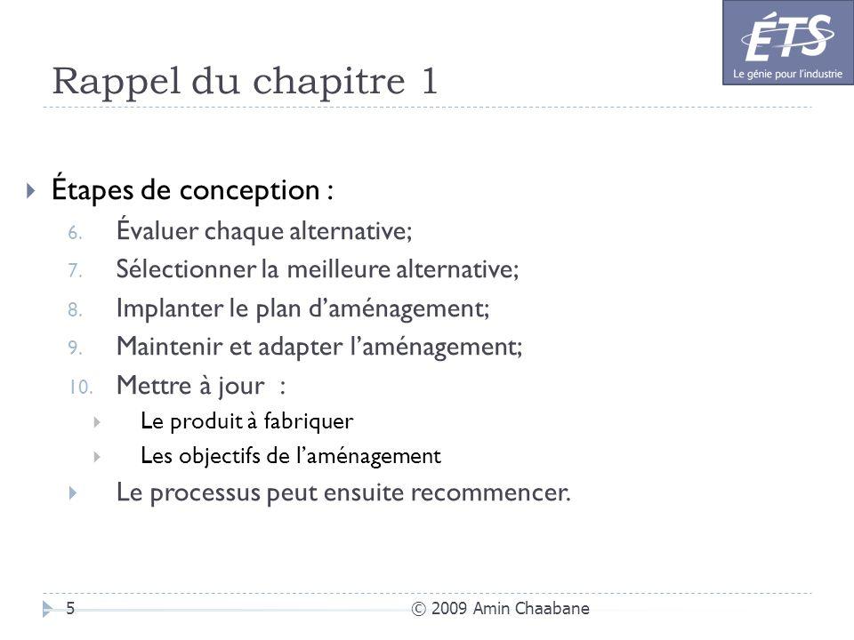 Rappel du chapitre 1 © 2009 Amin Chaabane5 Étapes de conception : 6. Évaluer chaque alternative; 7. Sélectionner la meilleure alternative; 8. Implante
