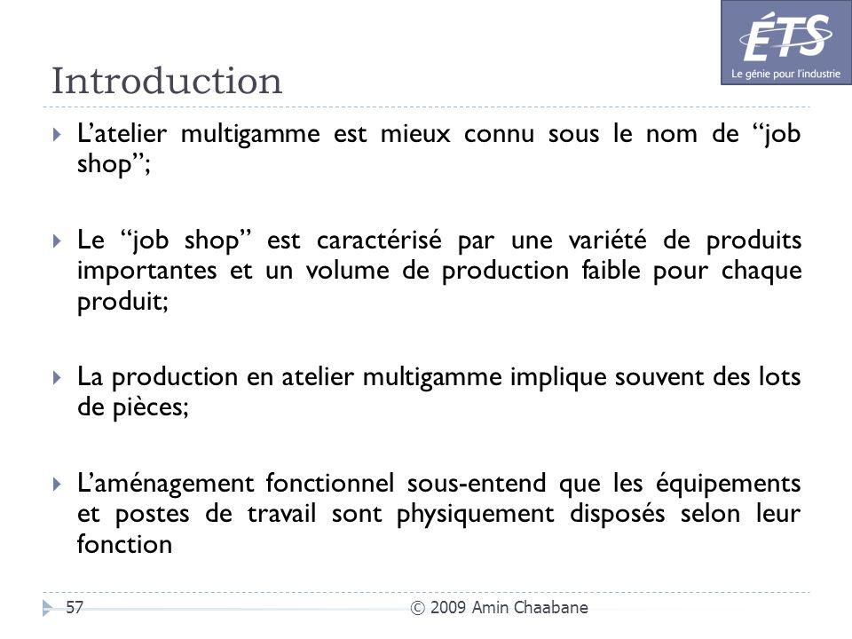 Introduction © 2009 Amin Chaabane57 Latelier multigamme est mieux connu sous le nom de job shop; Le job shop est caractérisé par une variété de produi