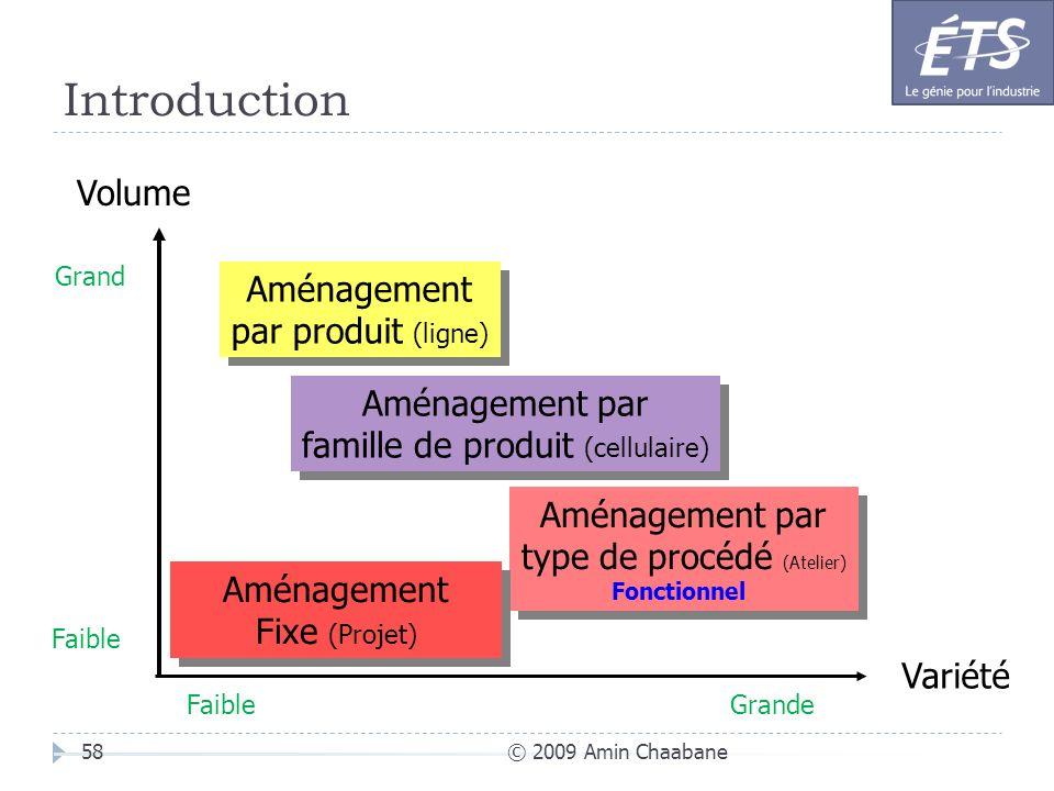 Introduction © 2009 Amin Chaabane58 Variété Volume Aménagement par produit (ligne) Aménagement par produit (ligne) Aménagement par famille de produit