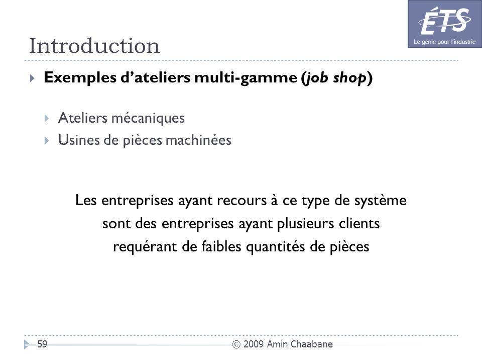 Introduction © 2009 Amin Chaabane59 Exemples dateliers multi-gamme (job shop) Ateliers mécaniques Usines de pièces machinées Les entreprises ayant rec