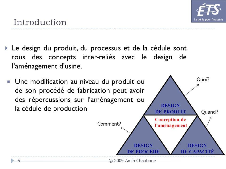 Introduction © 2009 Amin Chaabane6 Le design du produit, du processus et de la cédule sont tous des concepts inter-reliés avec le design de laménageme