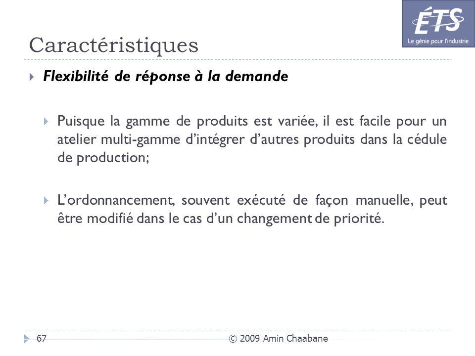 Caractéristiques © 2009 Amin Chaabane67 Flexibilité de réponse à la demande Puisque la gamme de produits est variée, il est facile pour un atelier mul