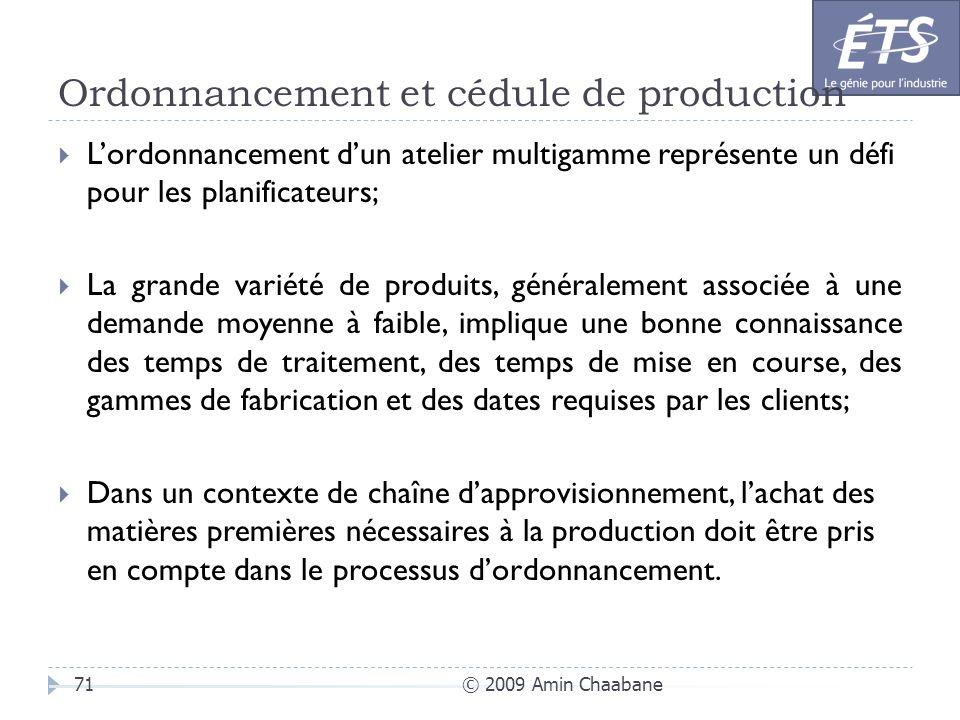 Ordonnancement et cédule de production © 2009 Amin Chaabane71 Lordonnancement dun atelier multigamme représente un défi pour les planificateurs; La gr