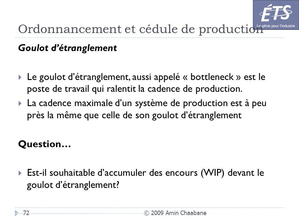 Ordonnancement et cédule de production © 2009 Amin Chaabane72 Goulot détranglement Le goulot détranglement, aussi appelé « bottleneck » est le poste d