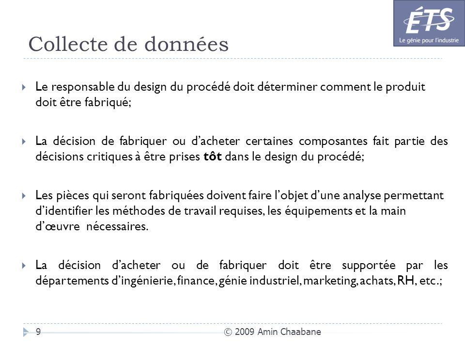 Collecte de données © 2009 Amin Chaabane9 Le responsable du design du procédé doit déterminer comment le produit doit être fabriqué; La décision de fa