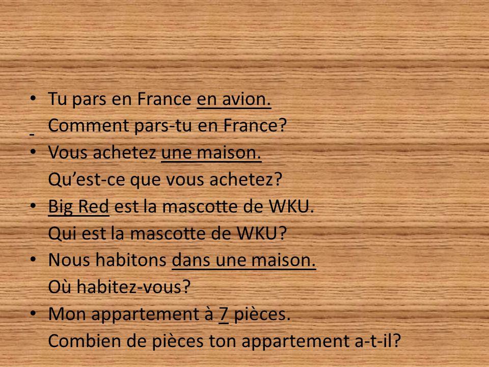 Tu pars en France en avion. Comment pars-tu en France? Vous achetez une maison. Quest-ce que vous achetez? Big Red est la mascotte de WKU. Qui est la