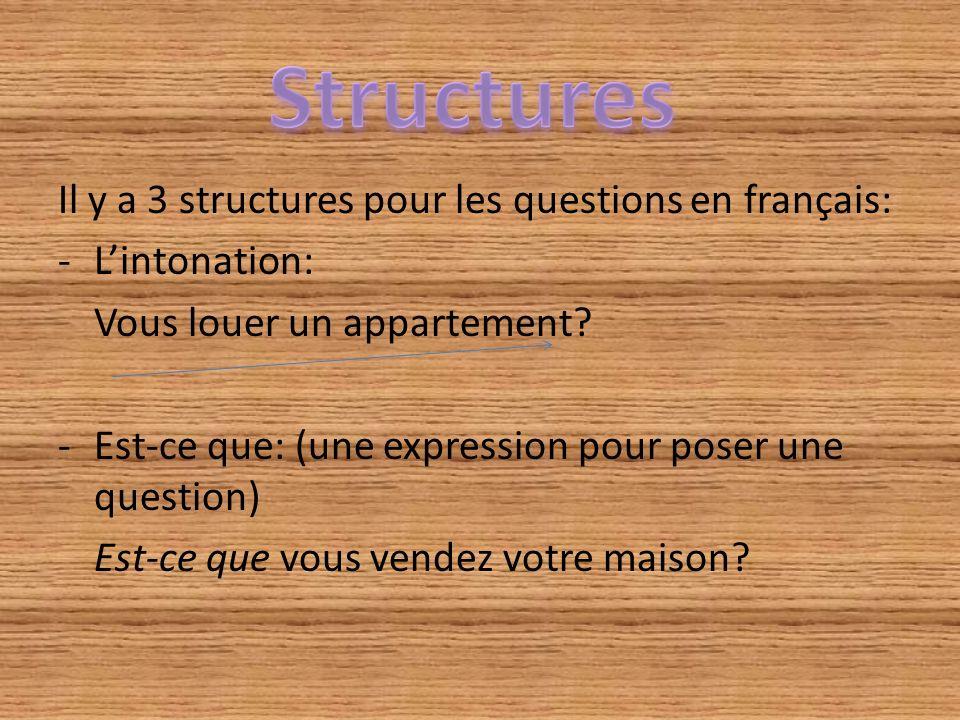Il y a 3 structures pour les questions en français: -Lintonation: Vous louer un appartement? -Est-ce que: (une expression pour poser une question) Est