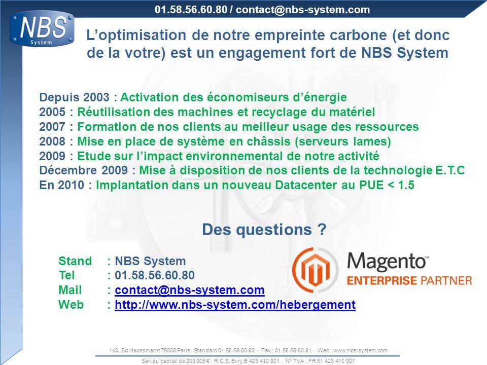 140, Bd Haussmann 75008 Paris · Standard 01.58.56.60.80 · Fax : 01.58.56.60.81 · Web : www.nbs-system.com Sarl au capital de 203 905 · R.C.S. Evry B 4