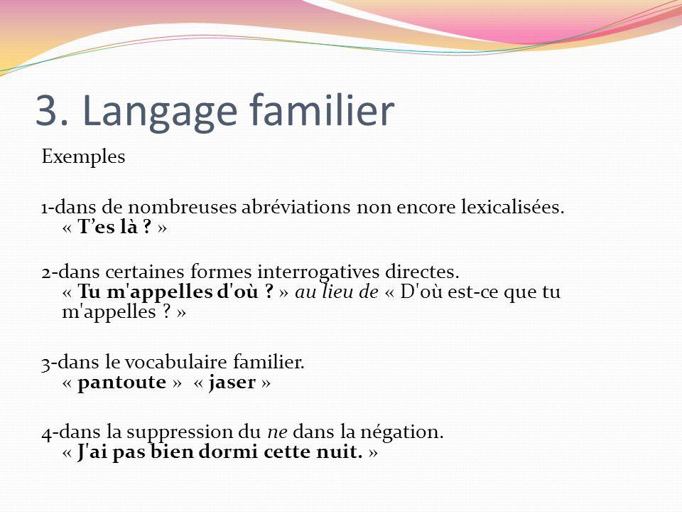 3. Langage familier Exemples 1-dans de nombreuses abréviations non encore lexicalisées. « Tes là ? » 2-dans certaines formes interrogatives directes.
