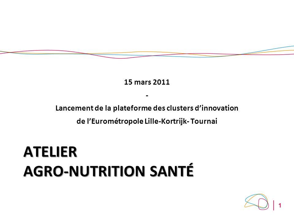 1 ATELIER AGRO-NUTRITION SANTÉ 15 mars 2011 - Lancement de la plateforme des clusters dinnovation de lEurométropole Lille-Kortrijk- Tournai