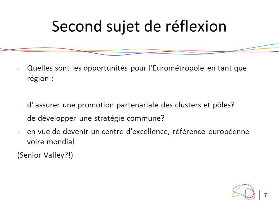 7 Second sujet de réflexion Quelles sont les opportunités pour l Eurométropole en tant que région : - d assurer une promotion partenariale des clusters et pôles.