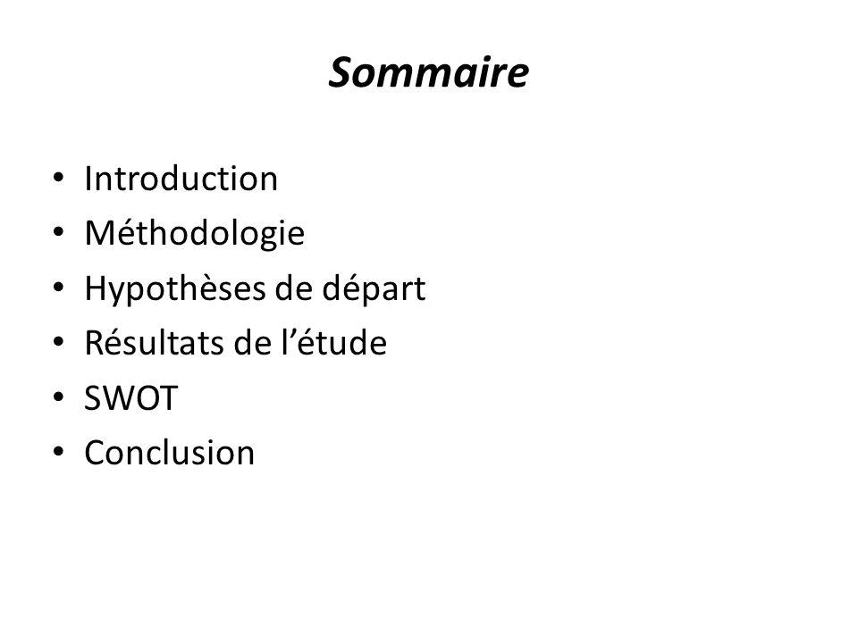 Introduction Méthodologie Hypothèses de départ Résultats de létude SWOT Conclusion Sommaire