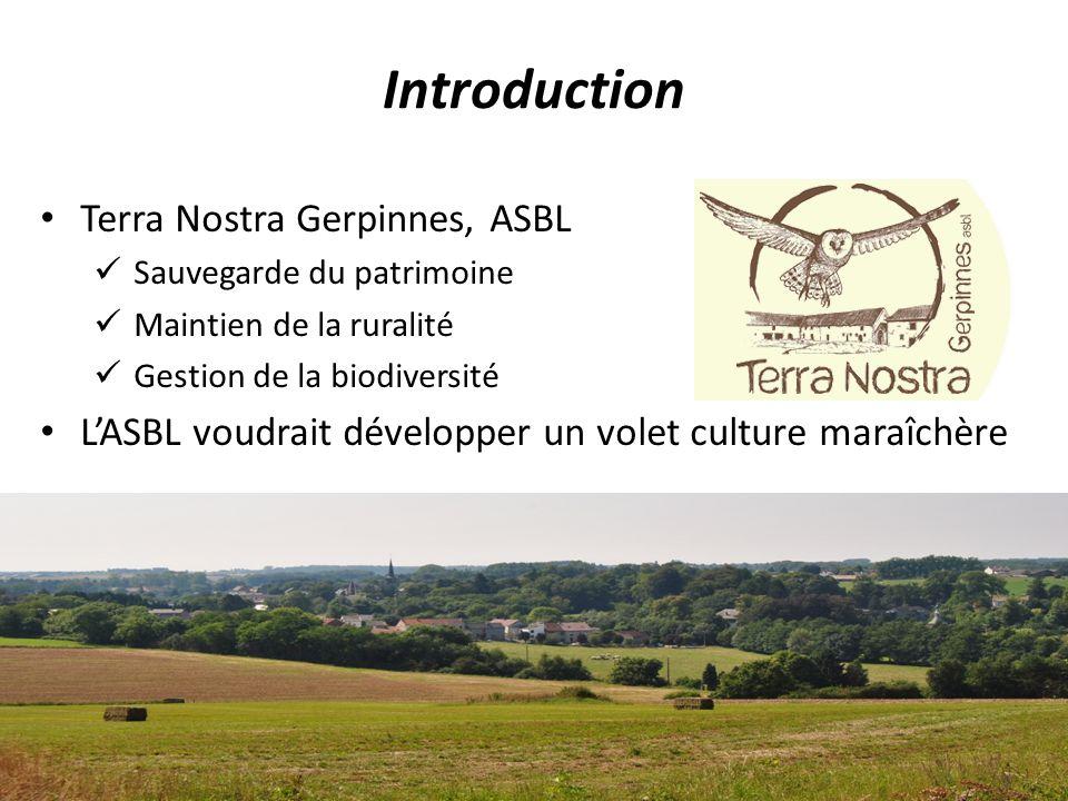 Terra Nostra Gerpinnes, ASBL Sauvegarde du patrimoine Maintien de la ruralité Gestion de la biodiversité LASBL voudrait développer un volet culture maraîchère Introduction