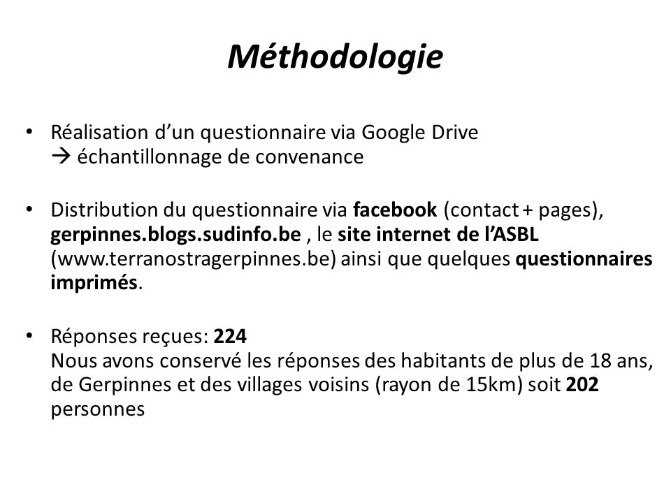 Réalisation dun questionnaire via Google Drive échantillonnage de convenance Distribution du questionnaire via facebook (contact + pages), gerpinnes.b
