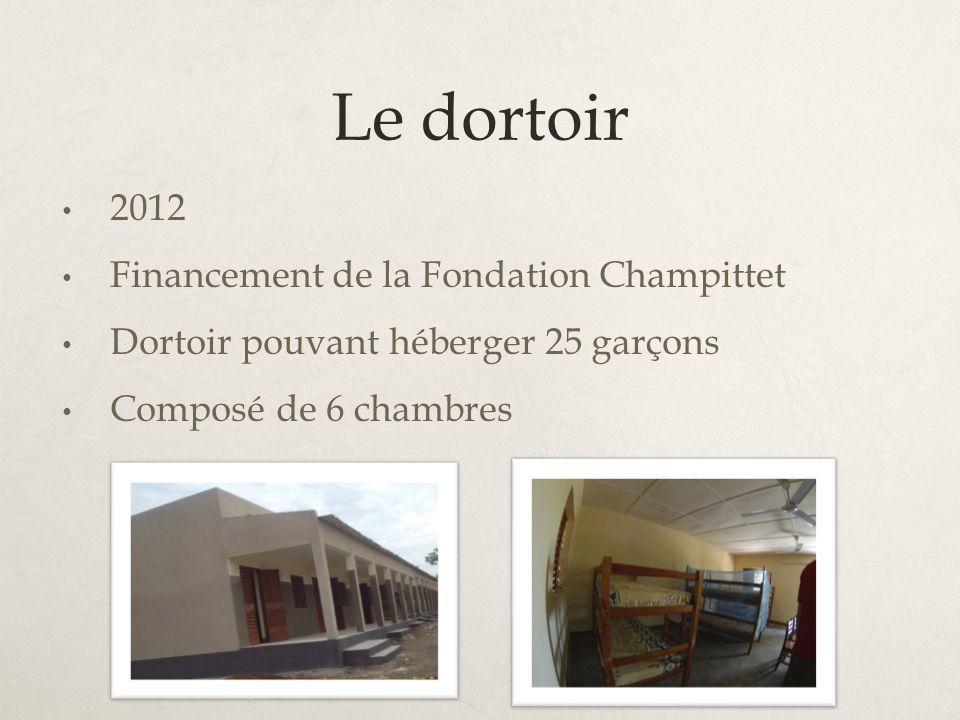 Le dortoir 2012 Financement de la Fondation Champittet Dortoir pouvant héberger 25 garçons Composé de 6 chambres