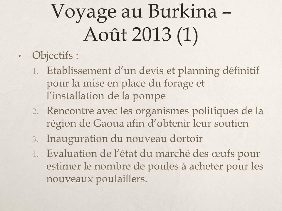 Voyage au Burkina – Août 2013 (1) Objectifs : 1. Etablissement dun devis et planning définitif pour la mise en place du forage et linstallation de la