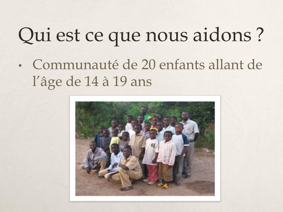 Qui est ce que nous aidons ? Communauté de 20 enfants allant de lâge de 14 à 19 ans