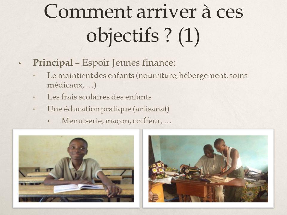 Comment arriver à ces objectifs ? (1) Principal – Espoir Jeunes finance: Le maintient des enfants (nourriture, hébergement, soins médicaux, …) Les fra