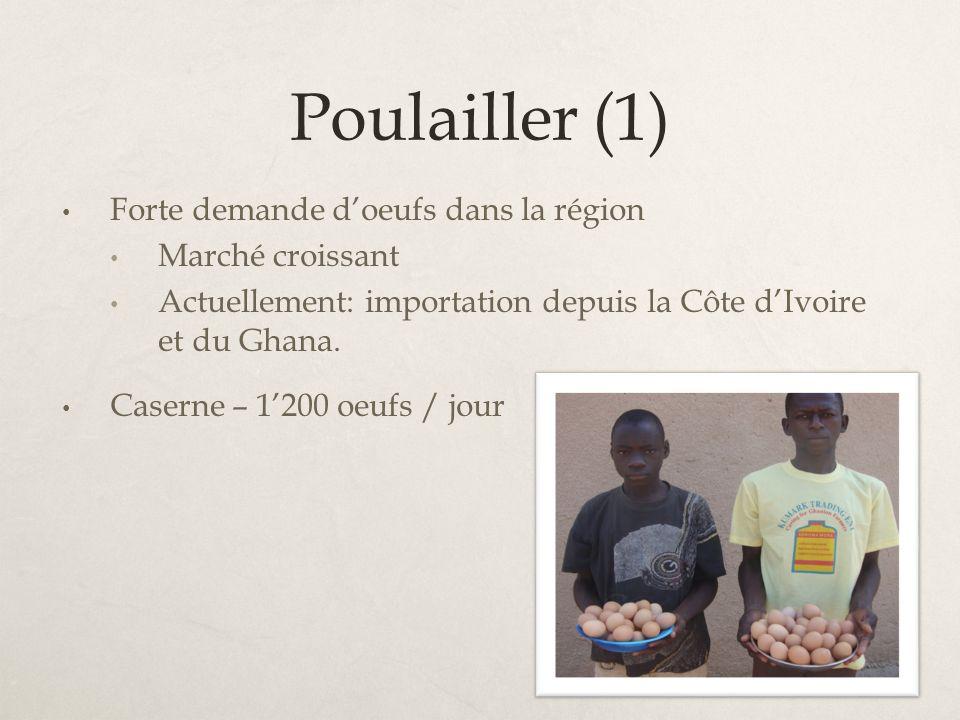 Poulailler (1) Forte demande doeufs dans la région Marché croissant Actuellement: importation depuis la Côte dIvoire et du Ghana. Caserne – 1200 oeufs
