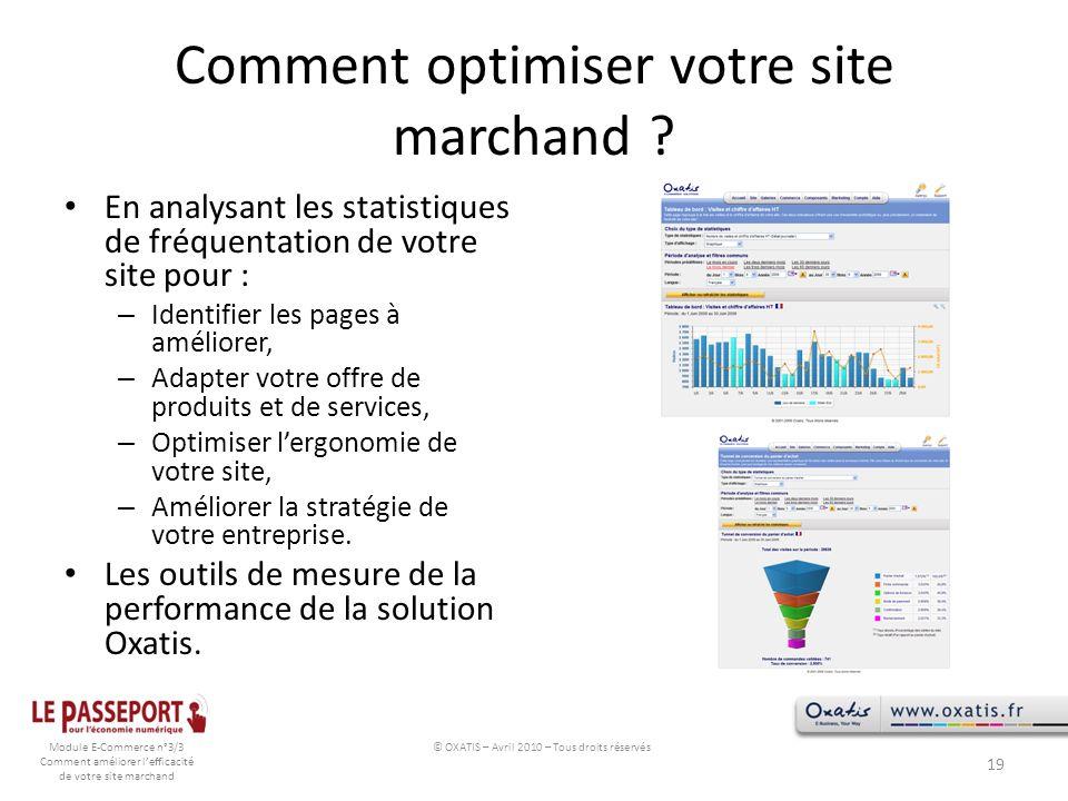 Module E-Commerce n°3/3 Comment améliorer lefficacité de votre site marchand Comment optimiser votre site marchand ? En analysant les statistiques de