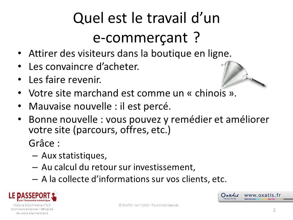 Module E-Commerce n°3/3 Comment améliorer lefficacité de votre site marchand Quel est le travail dun e-commerçant ? Attirer des visiteurs dans la bout